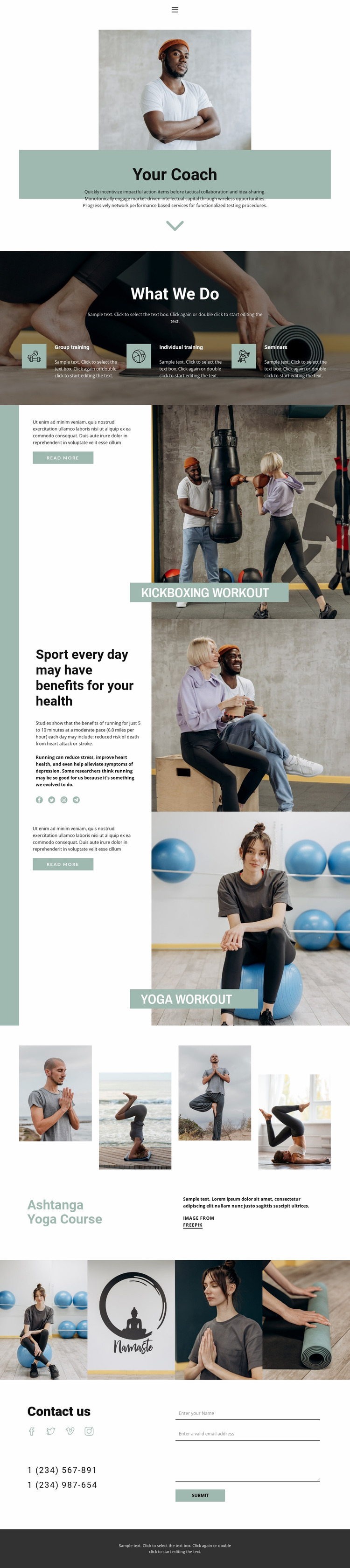 Sport sections Website Mockup