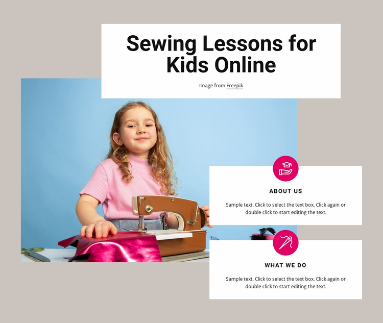 Sewing lessons for kids Website Template