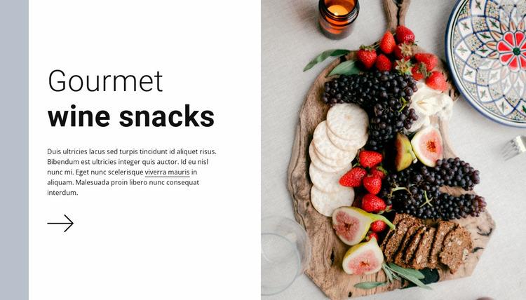 Gourmet wine snacks Website Mockup