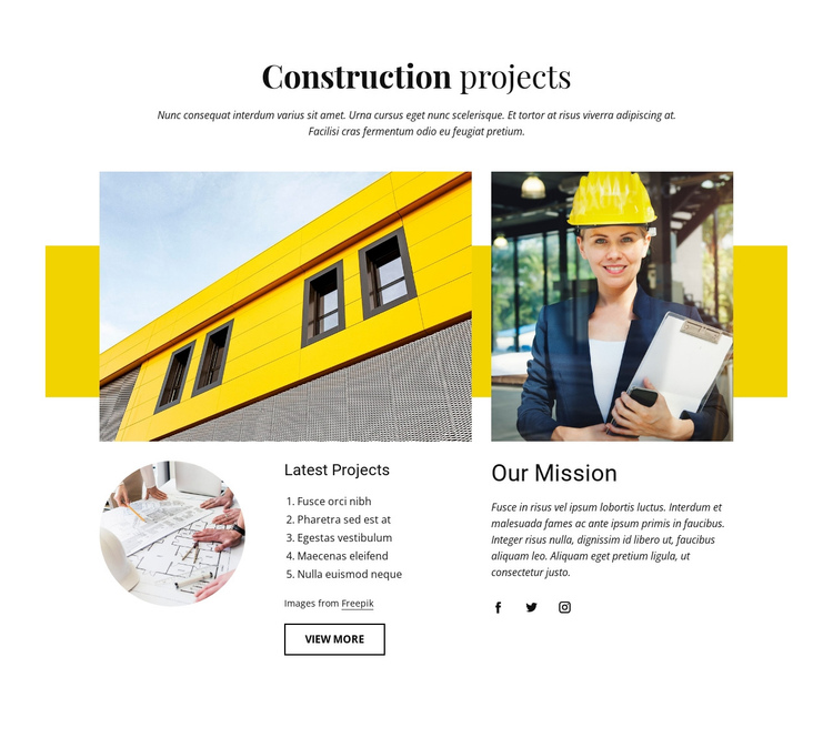 Our construction projects One Page Template
