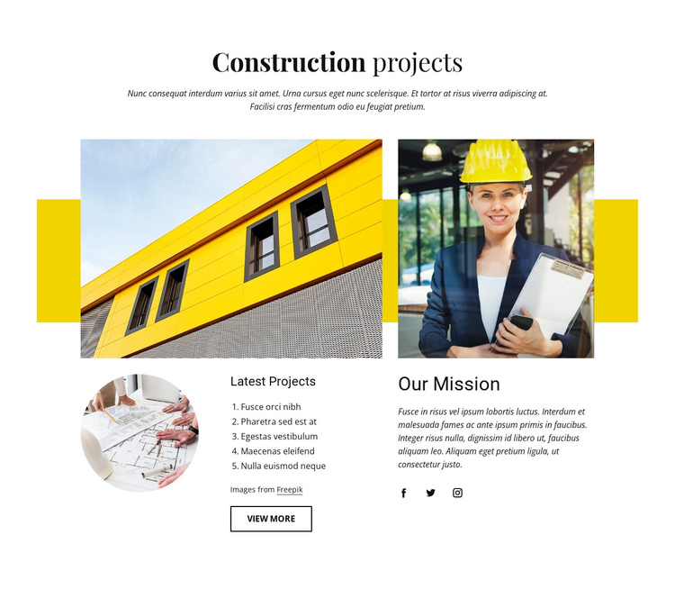 Our construction projects Website Builder Software