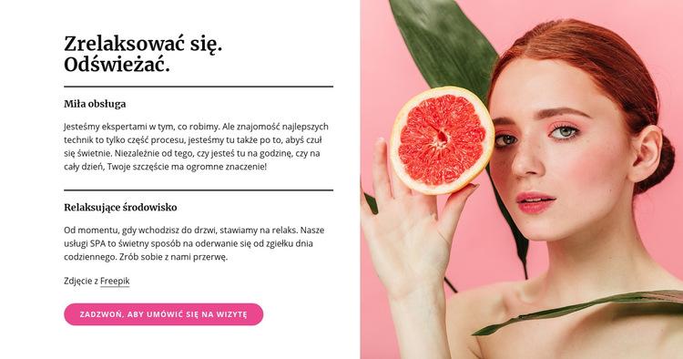 Manicure, pedicure, maseczki i zabiegi na skórę Szablon witryny sieci Web