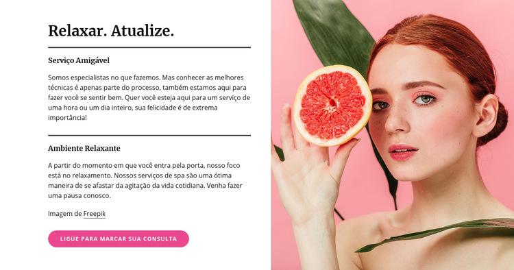 Manicure, pedicure, tratamentos faciais e de pele Modelo de site