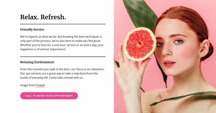 Manicures, pedicures, facials, and skin treatments Website Mockup