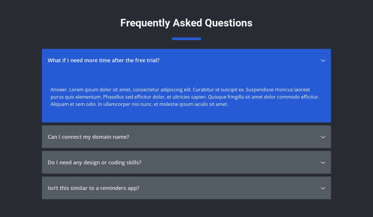 Asked questions Website Mockup