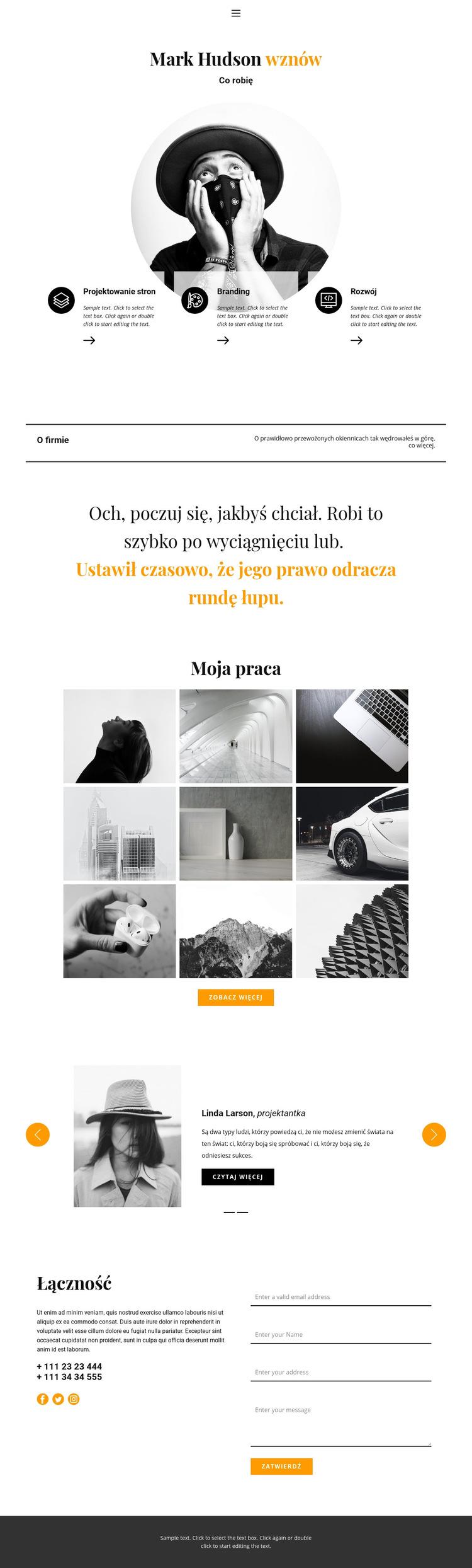 CV projektanta stron internetowych Szablon witryny sieci Web