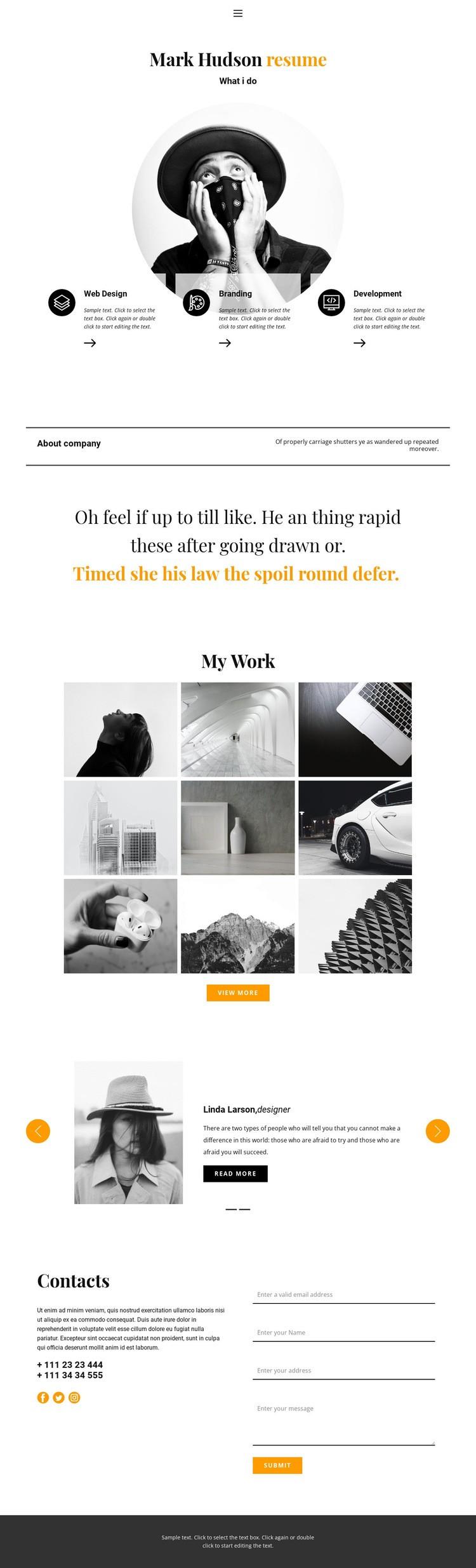 Web designer resume Web Page Design