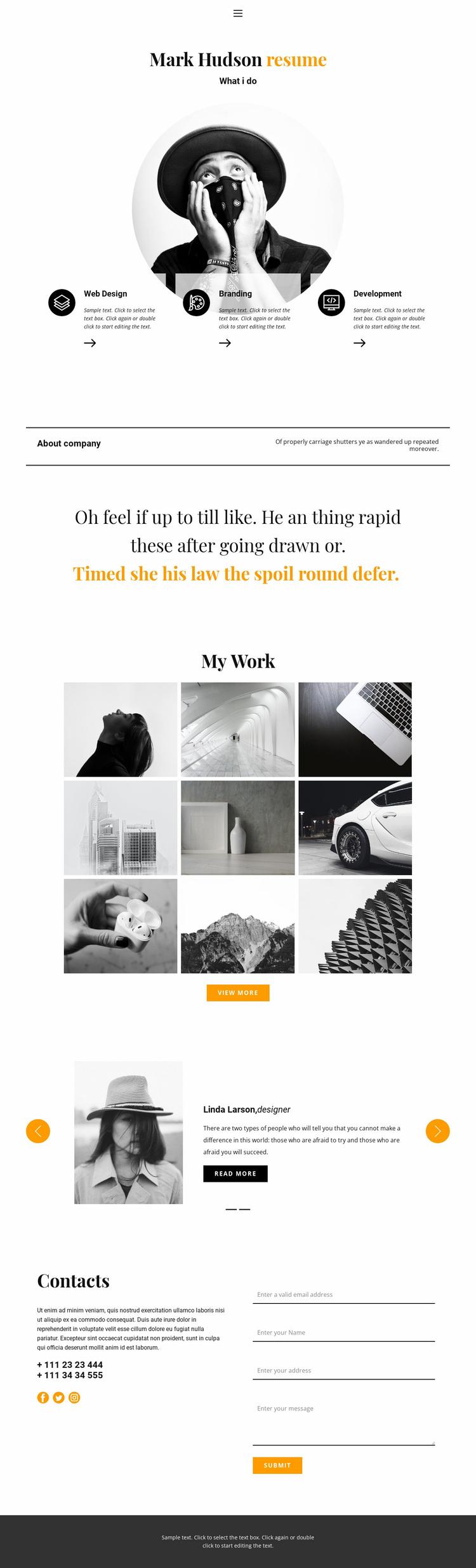 Web designer resume Landing Page