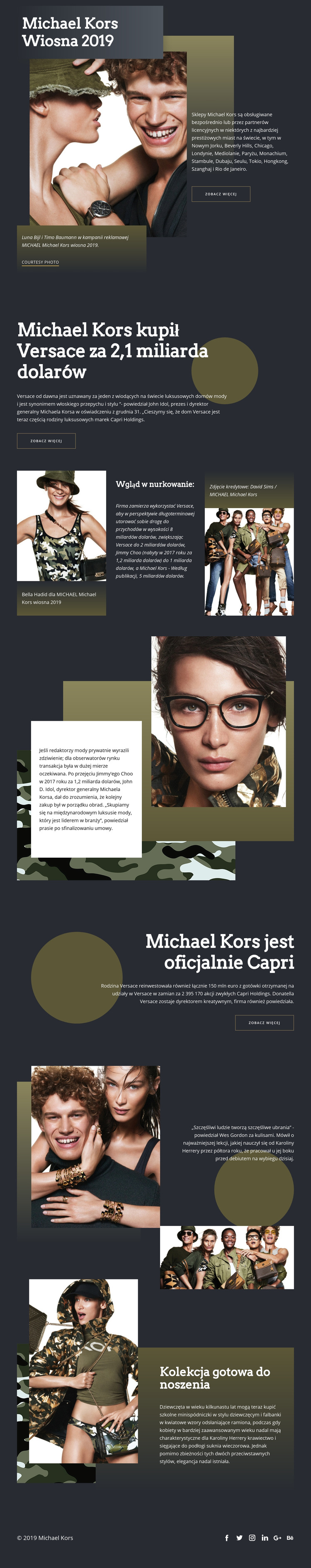 Michael Kors Dark Szablon witryny sieci Web
