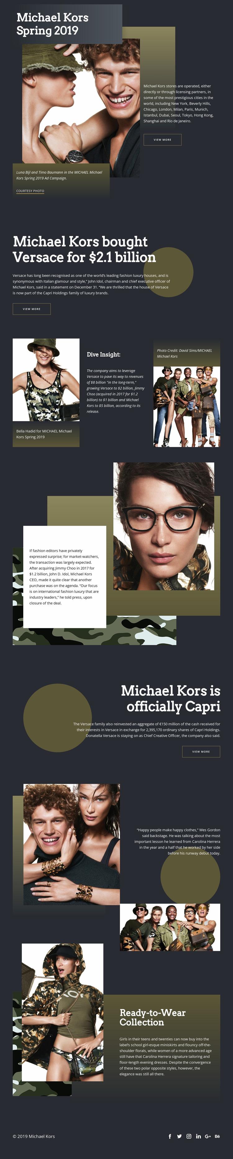 Michael Kors Dark WordPress Website Builder