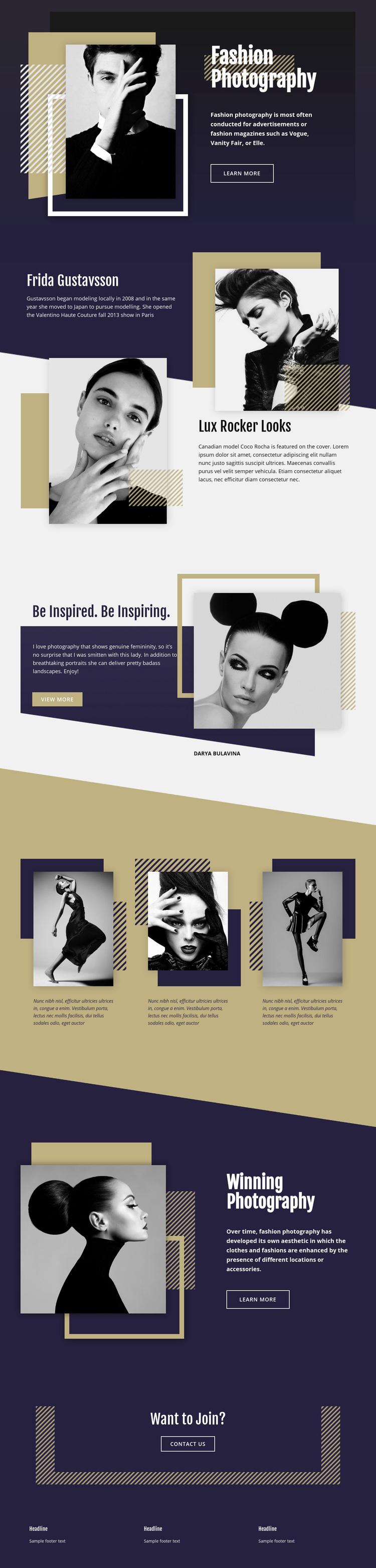 Fashion Photography Web Page Designer