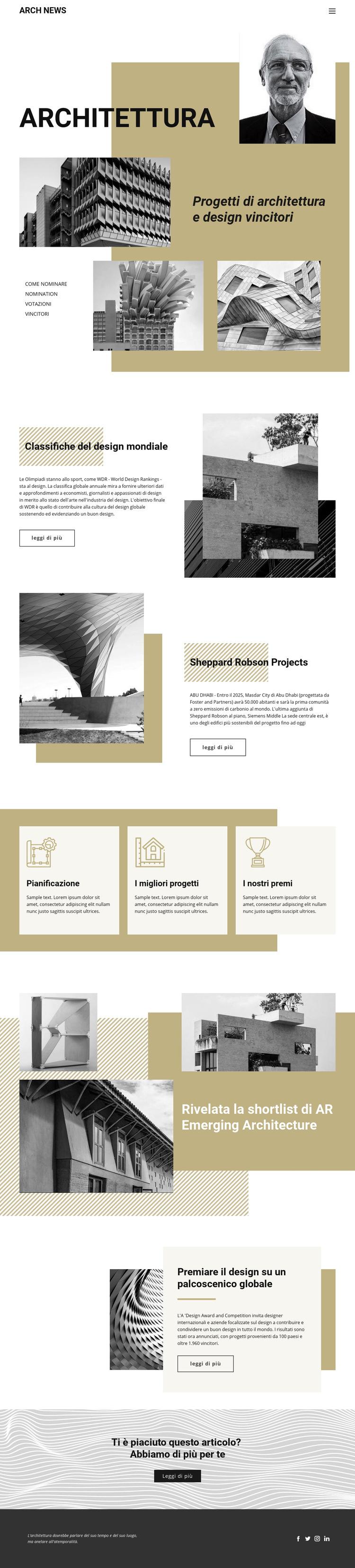 Design dell'architettura Modello di sito Web