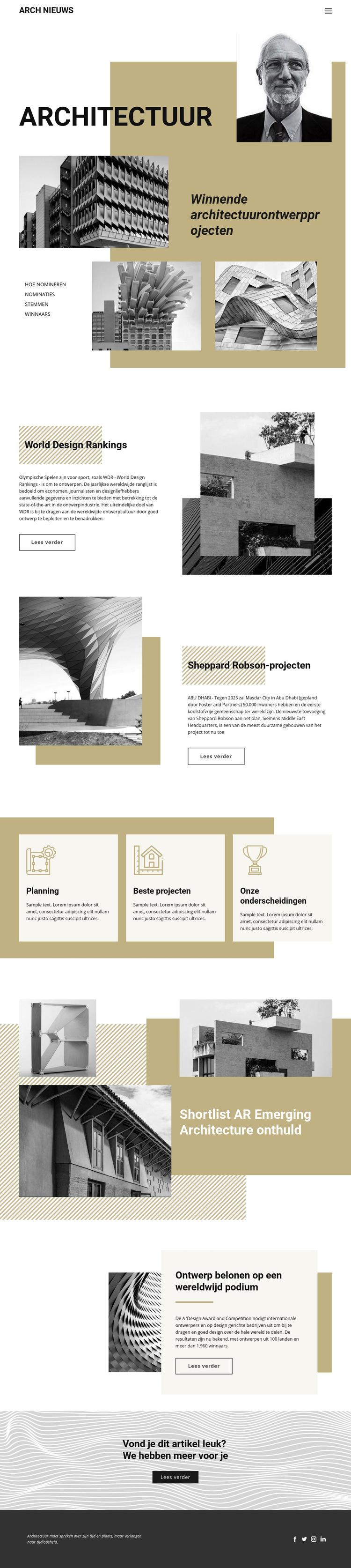 Ontwerp van architectuur Website sjabloon