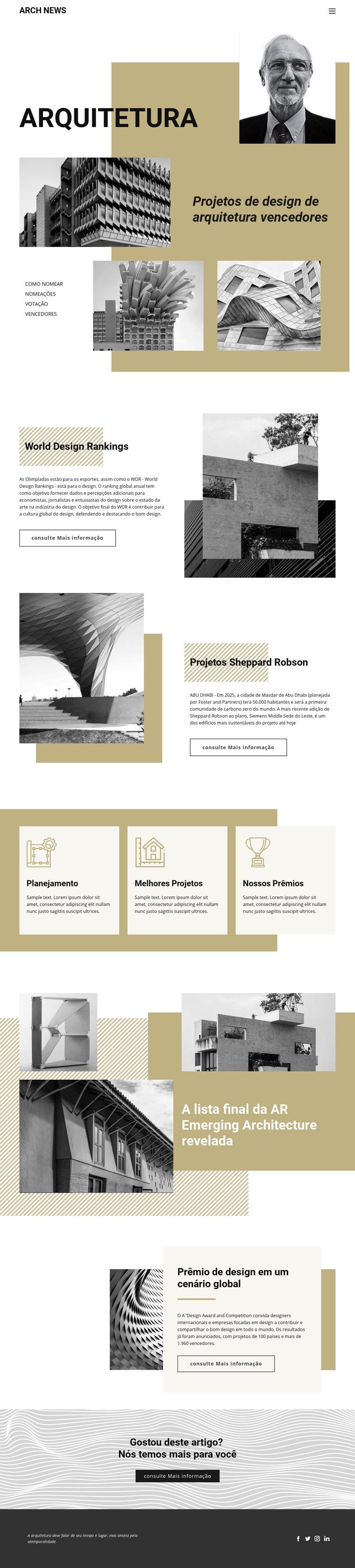 Projeto de Arquitetura Modelo de site