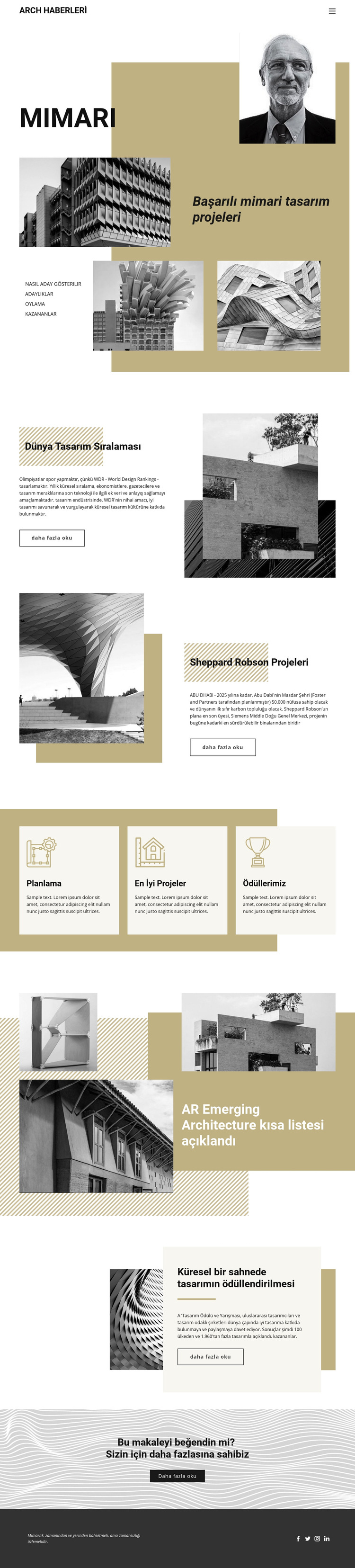 Mimari Tasarım Web Sitesi Şablonu