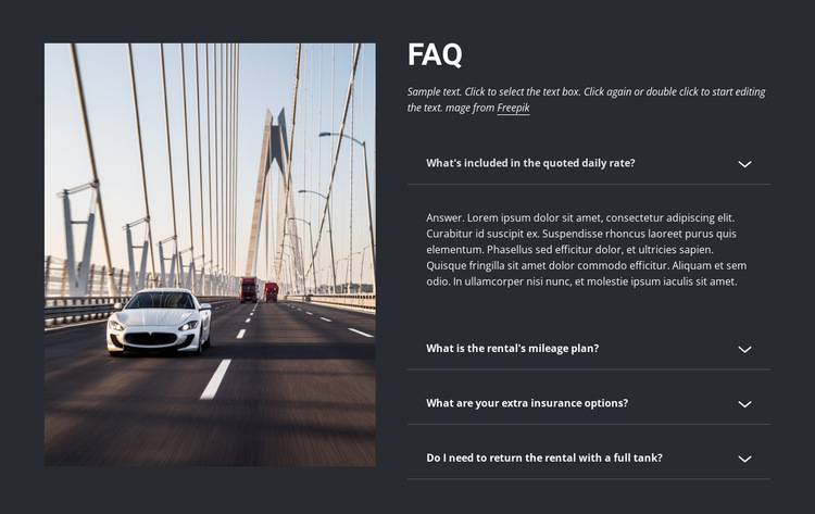 Questions to ask when renting a car HTML5 Template