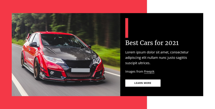 Best cars for 2021 One Page Template