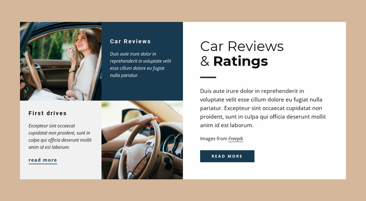 Car reviews and raitings Website Template