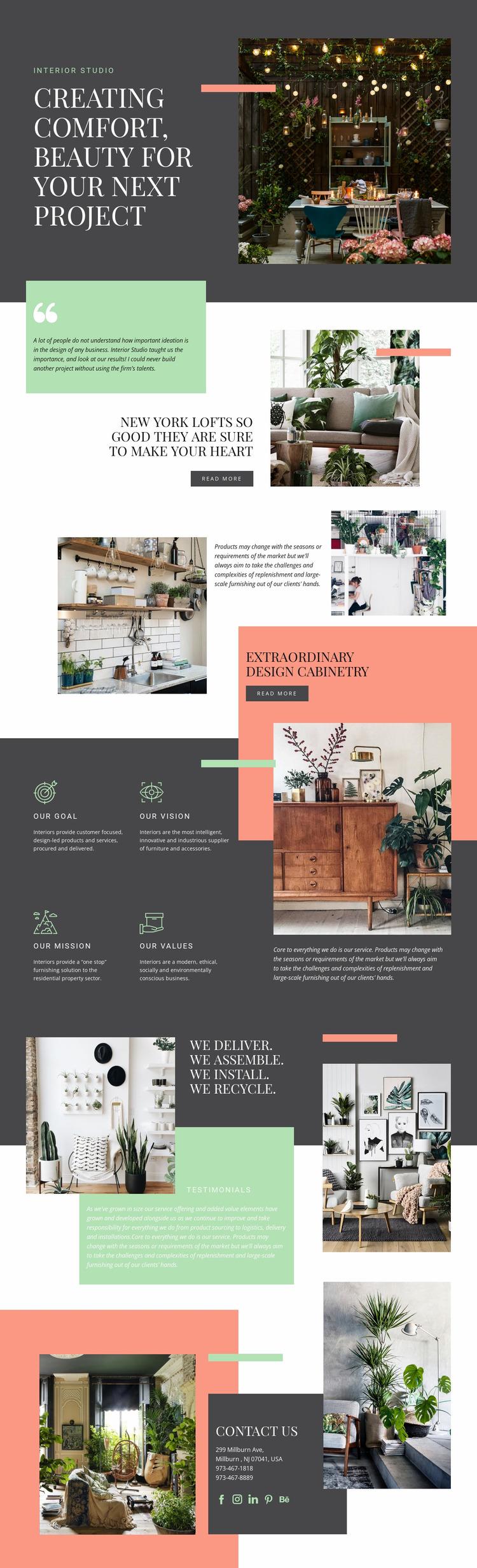 Comfort in your home Website Mockup