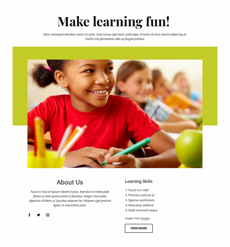 Effective learning activities Landing Page