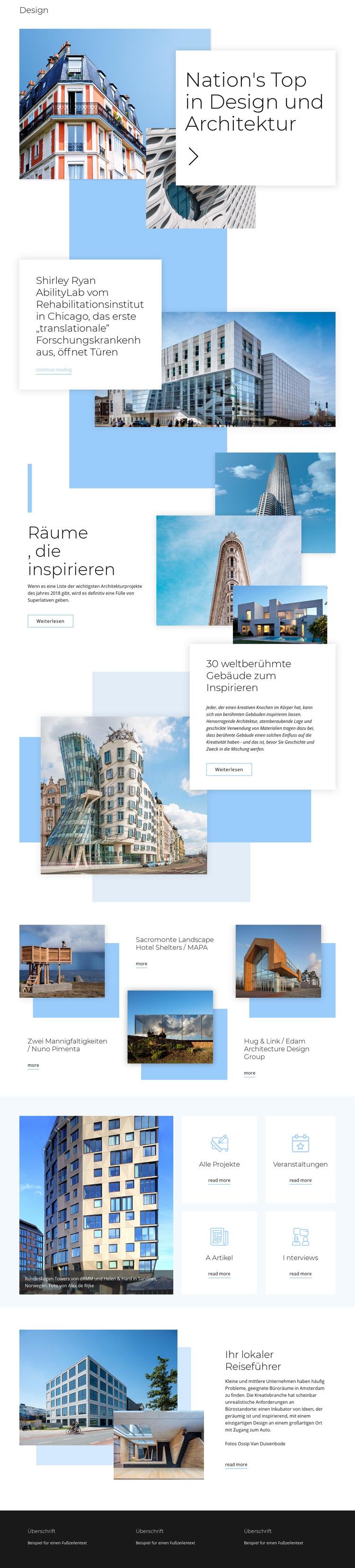 Bewertung für Architektur Website-Vorlage