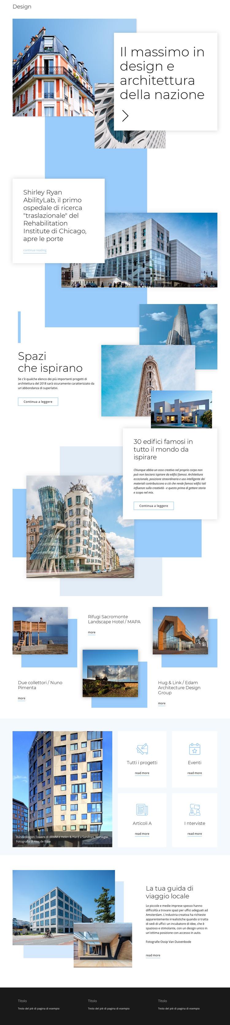 Classificazione per l'architettura Modello di sito Web