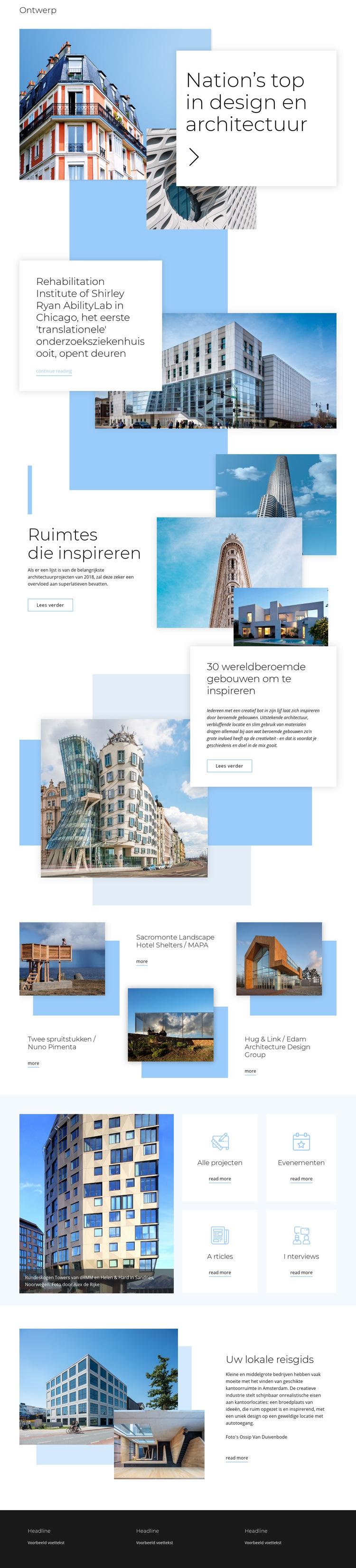 Beoordeling voor architectuur Website sjabloon