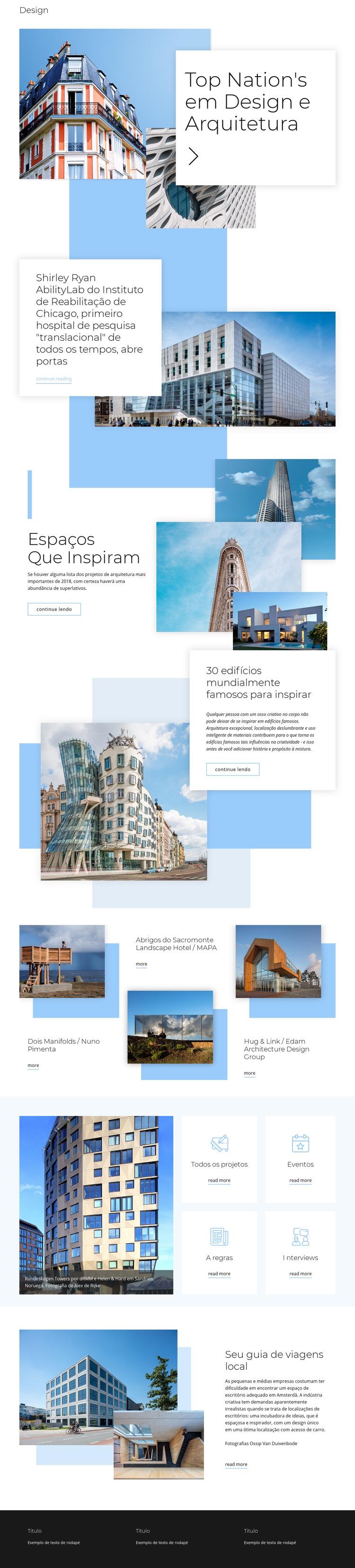 Classificação para arquitetura Modelo de site