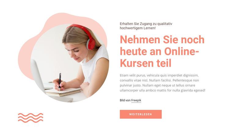 Nehmen Sie an Online-Kursen teil Website-Vorlage