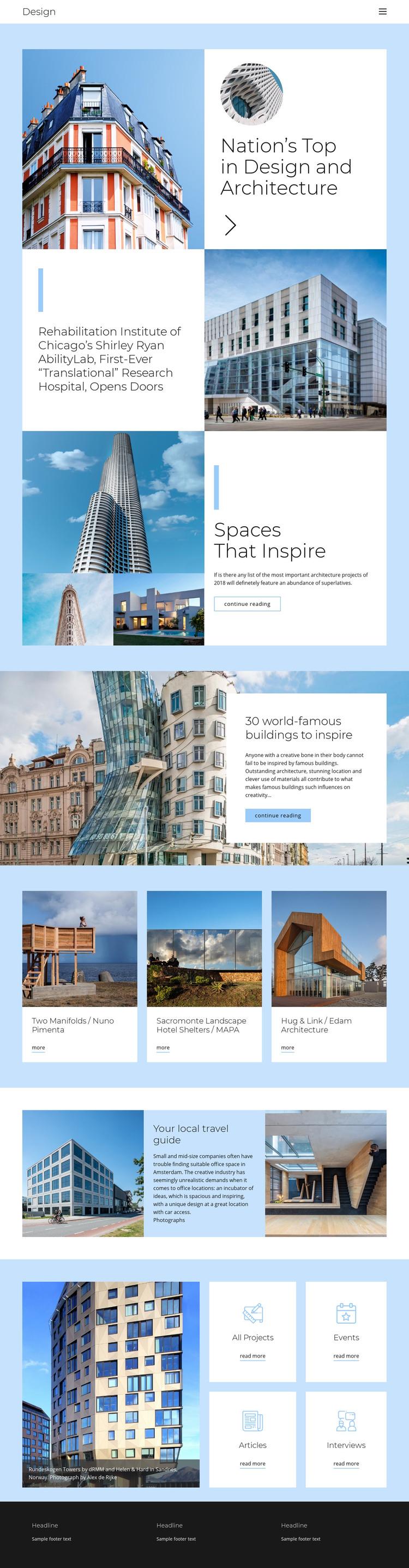Architecture city guide Homepage Design