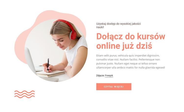 Dołącz do kursów online Szablon witryny sieci Web