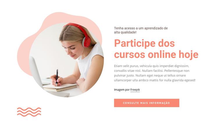 Participe de cursos online Modelo de site