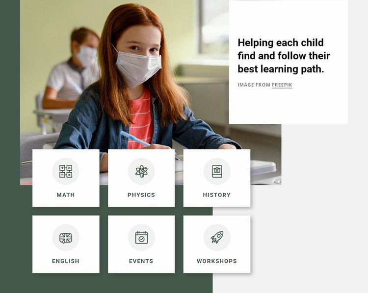After school programs Website Mockup