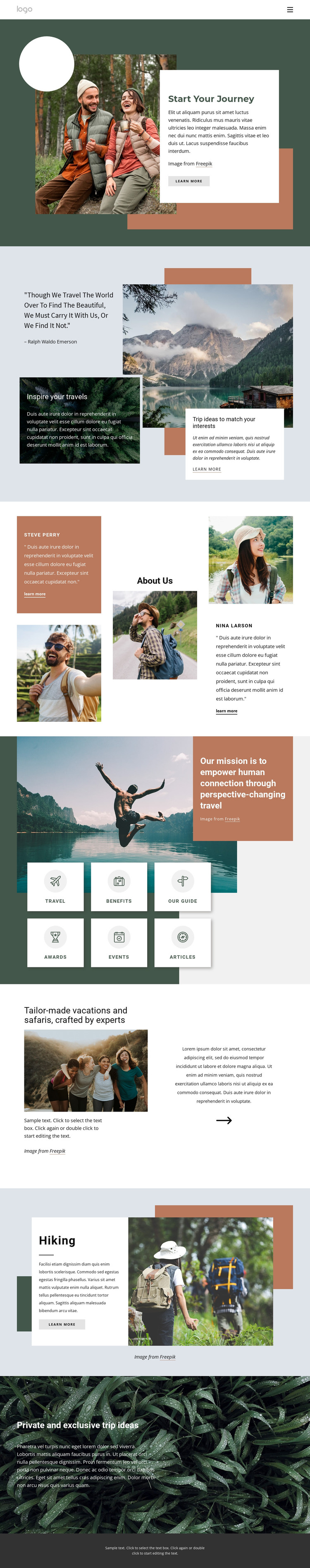Adventure travel company Web Design