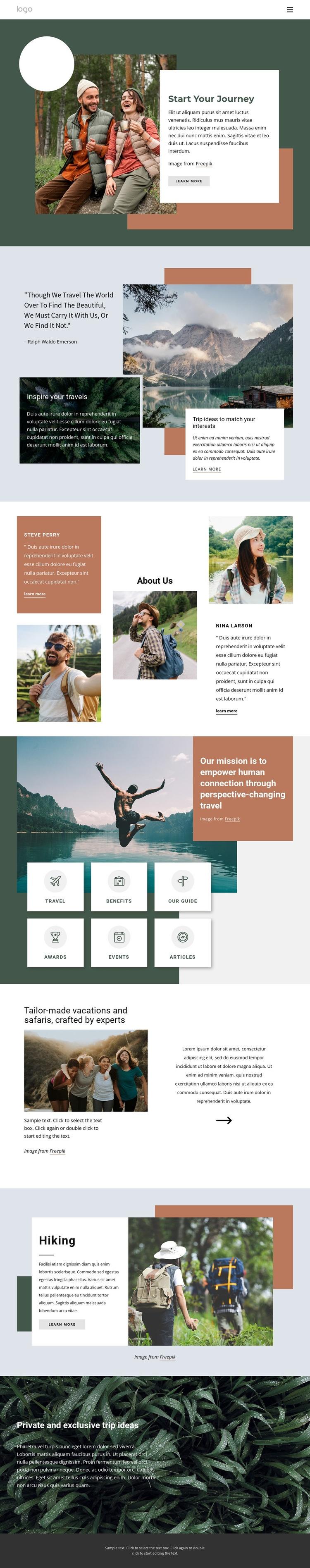 Adventure travel company Web Page Design