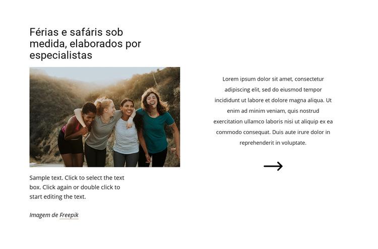 Safaris feitos por especialistas Modelo de site