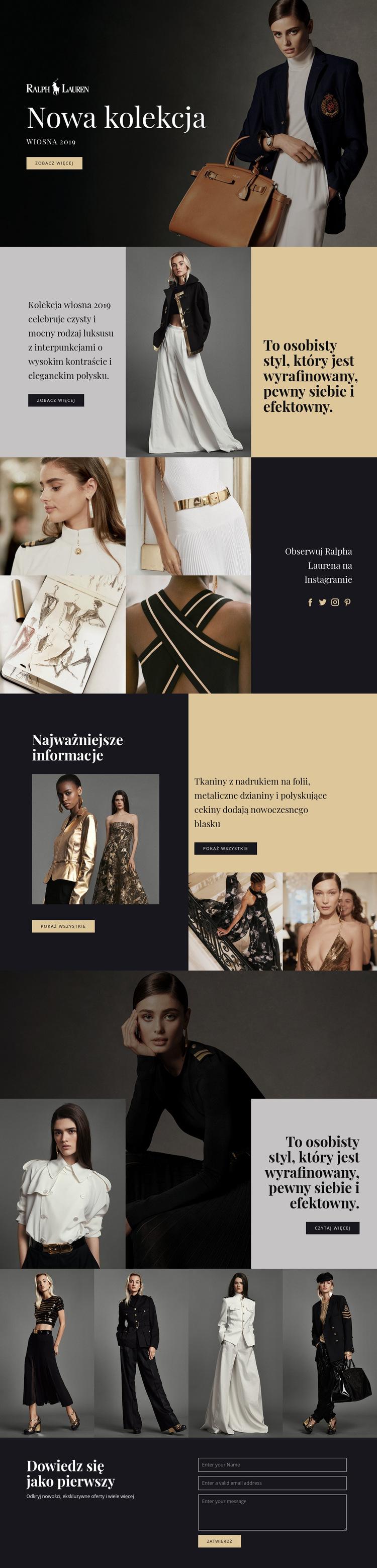 Moda Ralpha Laurena Szablon witryny sieci Web