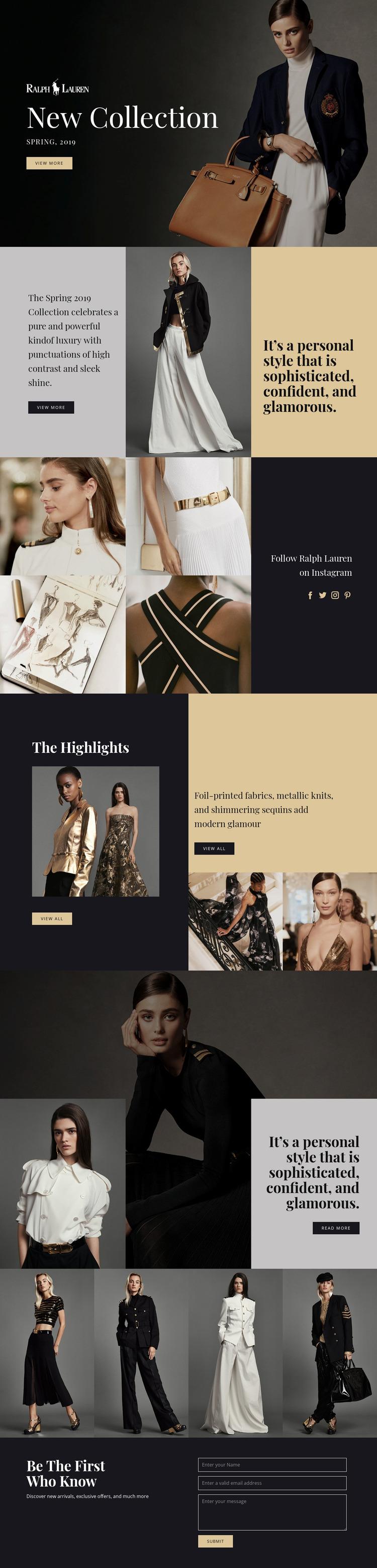 Ralph Lauren fashion WordPress Website Builder