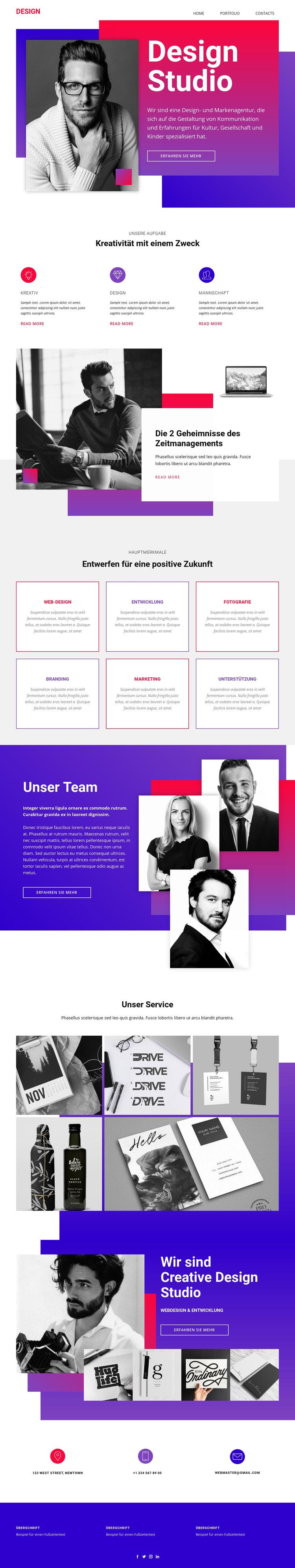 Zeit Webdesign Kunst Website-Vorlage