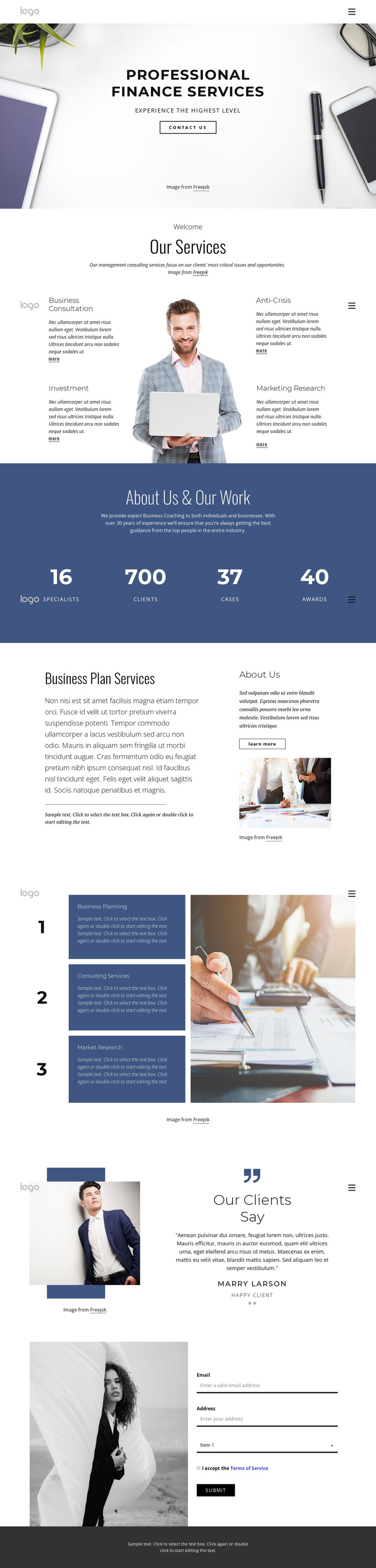 Professional finance services HTML Template