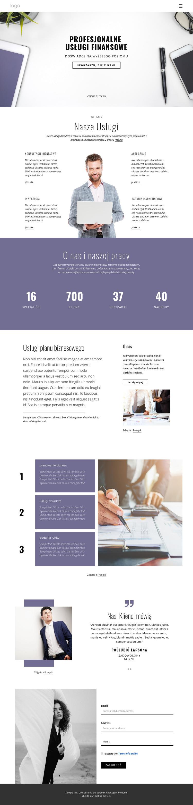 Profesjonalne usługi finansowe Szablon witryny sieci Web