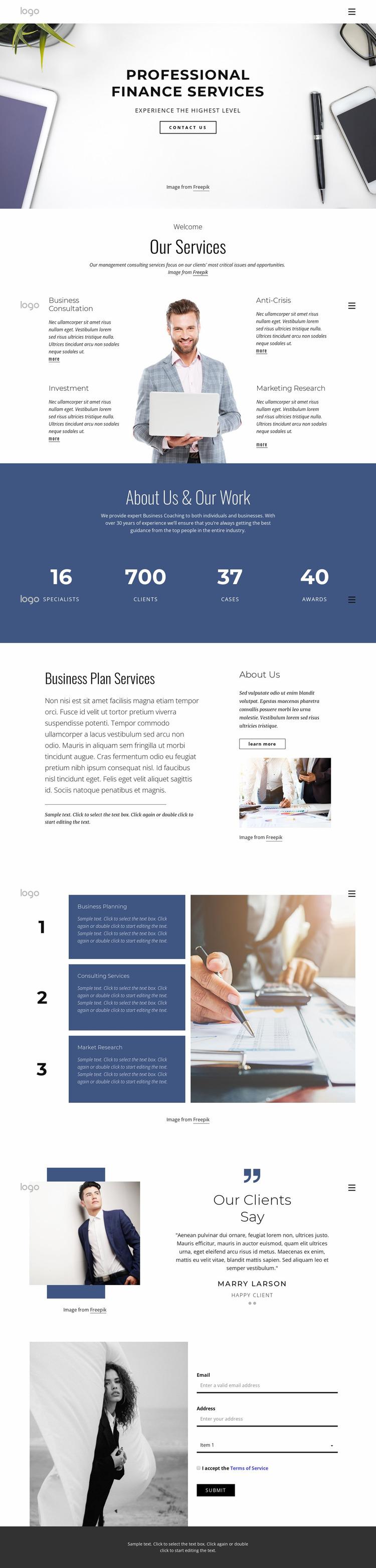 Professional finance services Website Mockup