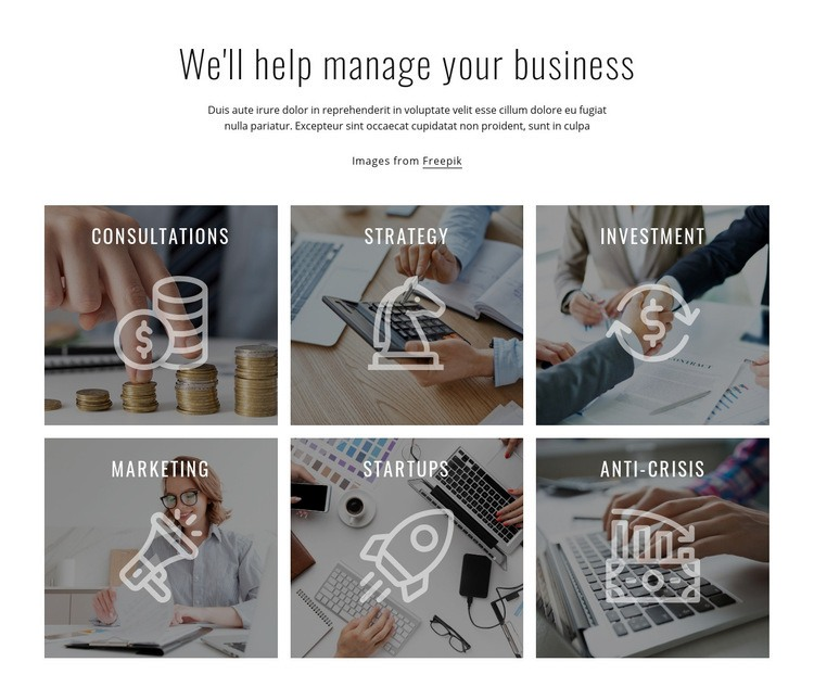 We help to manage your business Html Code Example