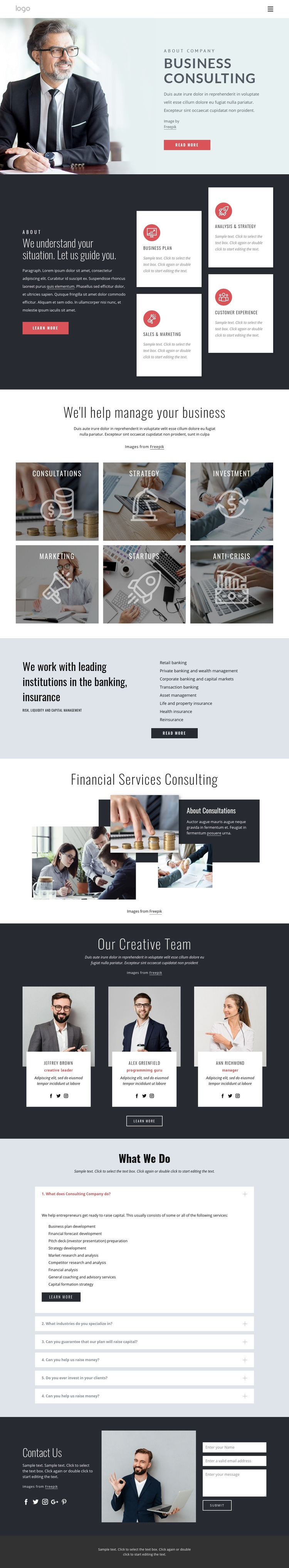 Successful financial strategy Web Page Design