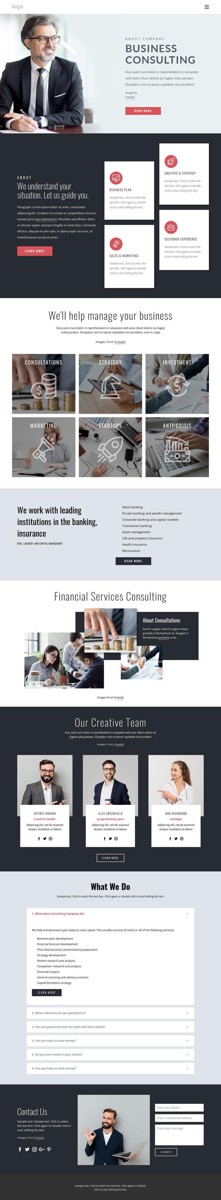 Successful financial strategy Website Creator