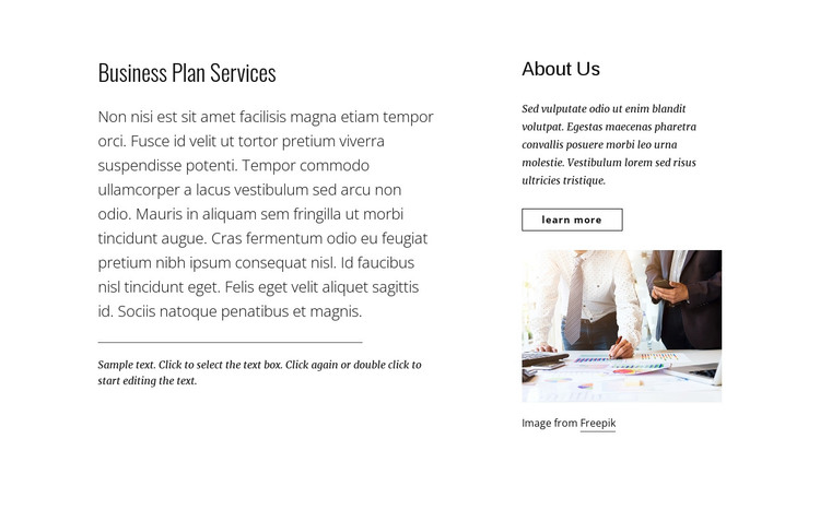 Business plan services HTML Template