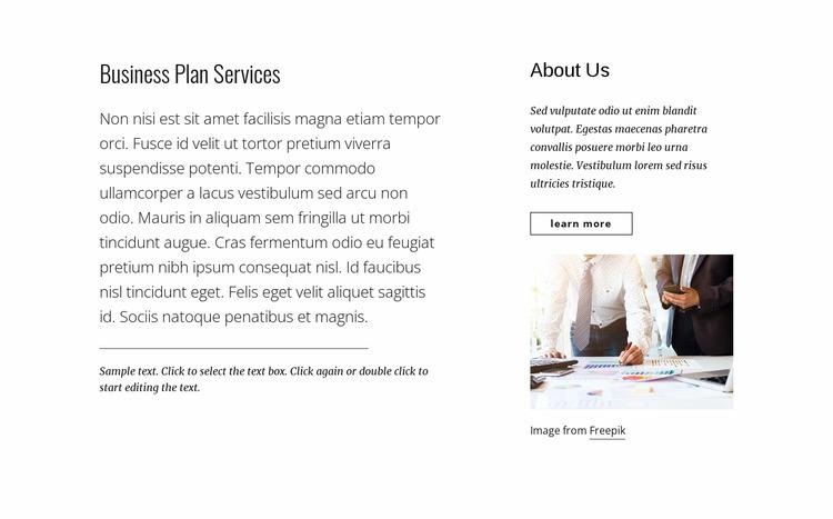 Business plan services Html Website Builder
