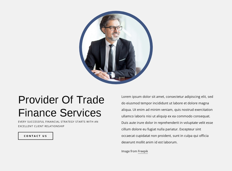 Provider of trade finance services HTML5 Template
