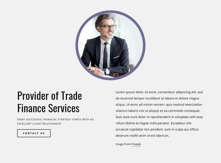 Provider of trade finance services Web Page Design