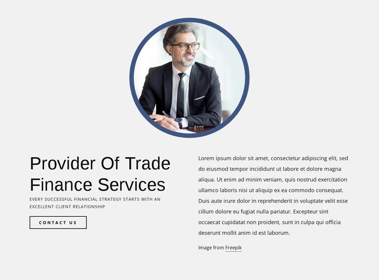Provider of trade finance services Website Builder Software